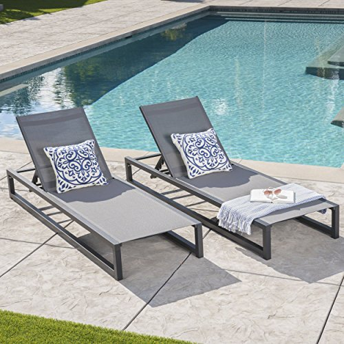 Great Deal Furniture Moderna Outdoor Black Finished Aluminum Framed Chaise Lounge with Grey Mesh Body (Set of 2)