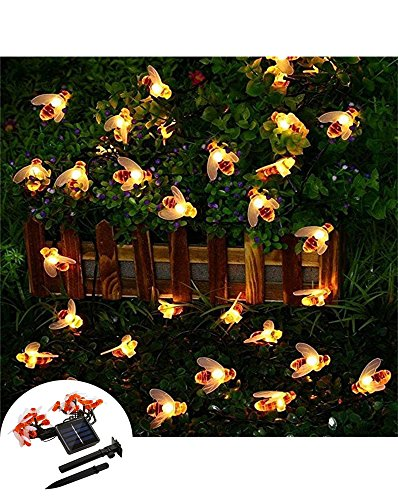 Lareinae Solar String Lights, Outdoor Waterproof Fairy Light 19.7ft 30 LED Warm White Bee Shaped Lighting for Christmas, Garden Patio Indoor Party, Bedroom, Xmas, Yard, Proch (Easy To Make Yard Decorations For Halloween)