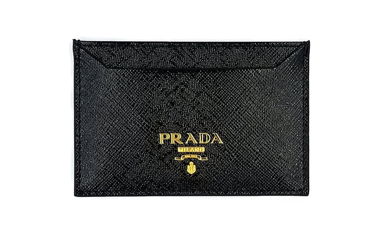 Amazon.com: Prada Saffiano Leather Credit Card Wallet Holder (Black ...