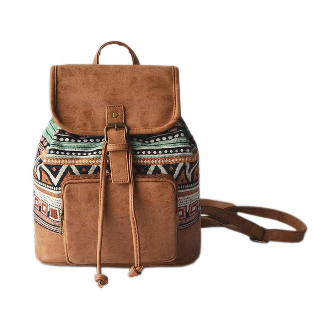 Women Classy Backpack Shoulder Bag Handbag for School & Daily Commute, Ethnic Style, Simple/Stylish Bag, Brown