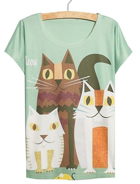 YICHUN Verano Casual Manga Corta Tres Gatos Dibujos Animados Camiseta Tops Camiseta para Mujer Chica: Amazon.es: Ropa y accesorios