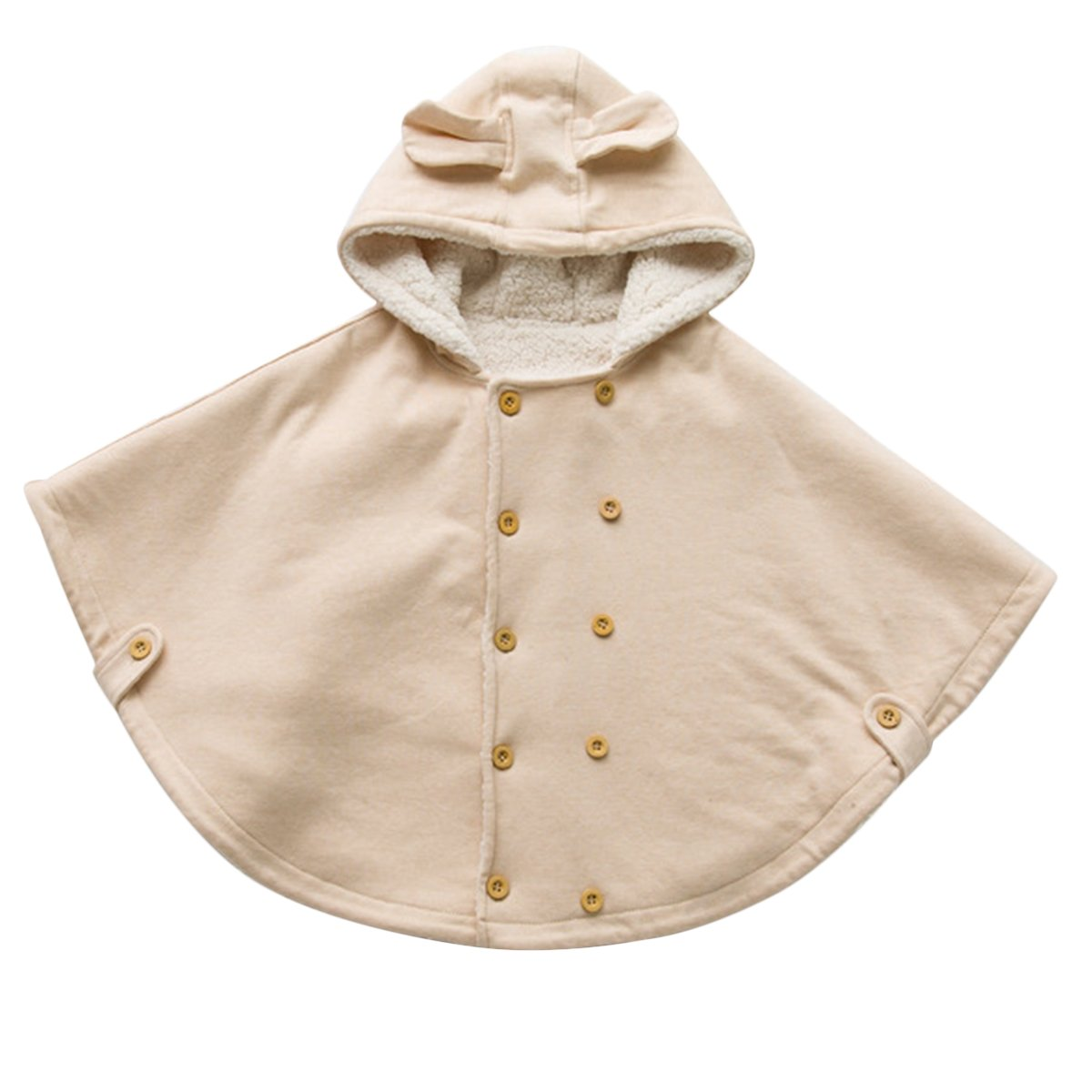 Poliking Unisex Baby Kids Toddlers Wear Hooded Cape Double Row Wood Button With Hat Cloak  by Poliking