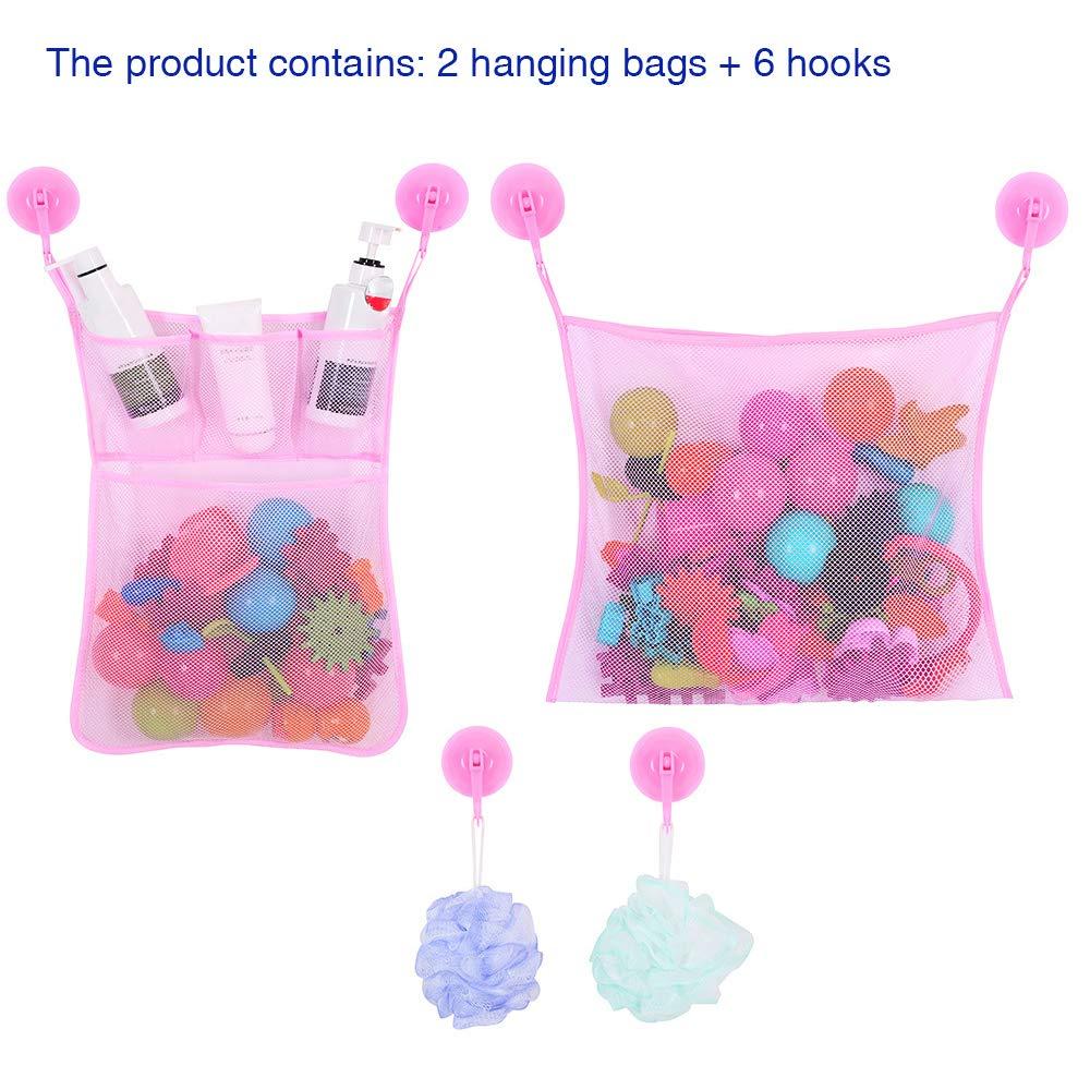 VEVICE mesh Bath Toy organizer, 1set perfetto doccia netto giocattoli per vasca da bagno con memorizzazione borse per bambini, Mesh, rosa, 45 * 34cm