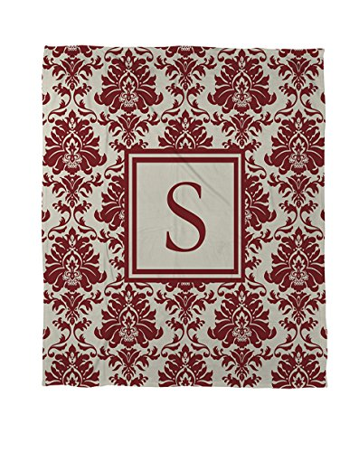 Manual Woodworkers & Weavers Coral Fleece Throw, 30 by 40-Inch, Monogrammed Letter S, Crimson Damask