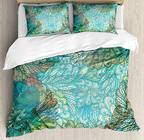 OxOHome Dragonfly Bedding SetsFantasy Flowers Mixed in Various Tones Shabby Chic Feminine Beauty Print Duvet Cover Sets Turquoise Amber Twin Bedding Comforter Cover Sets Soft Bedding Collections