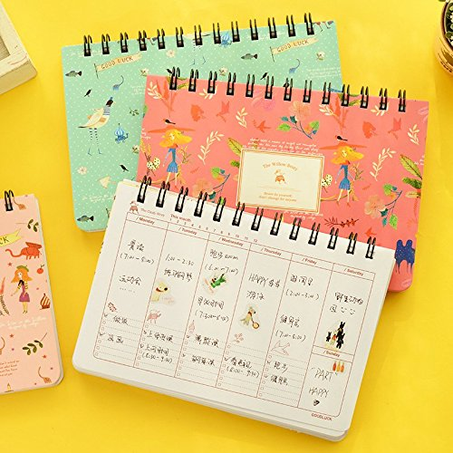 Blooming flower notebook Coil spiral planner Weekly agenda diary book stationery papelaria Material escolar Office supply 6858
