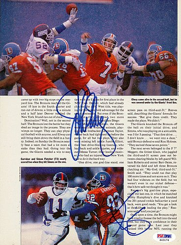 John Elway & Phil Simms Signed Magazine Page Photograph - Certified Genuine Autograph By PSA/DNA - Autographed Football Photograph