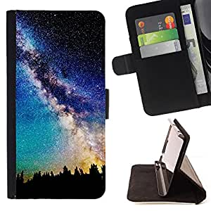 DEVIL CASE - FOR HTC One M8 - Milky Way Galaxy View Night Sky Stars Trees - Style PU Leather Case Wallet Flip Stand Flap Closure Cover