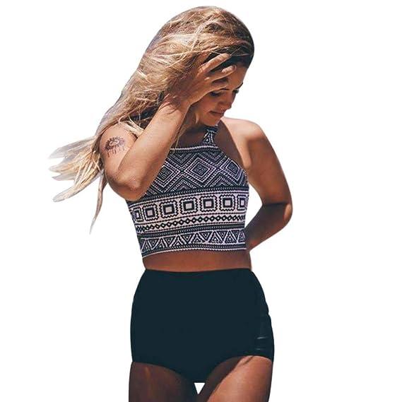 DEELIN Bikini Estampado Junto Al Mar con Cintura Alta para Mujer Conjunto De BañAdor Push-Up: Amazon.es: Ropa y accesorios