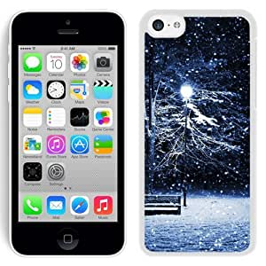 Beautiful Unique Designed iPhone 5C Phone Case With Snow Park Bench Light Pole_White Phone Case
