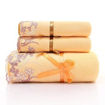 Juego de Toallas de baño de 3 Piezas, Juego de Toallas Bordadas, 2 Colores para Elegir,A: Amazon.es: Hogar