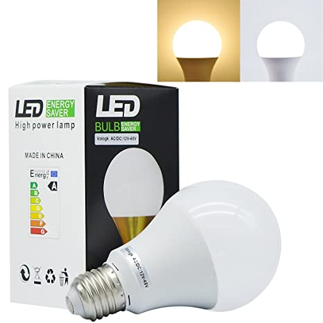Pack de 2 bombillas LED E26 E27 de 12 V – 48 V CA/CC
