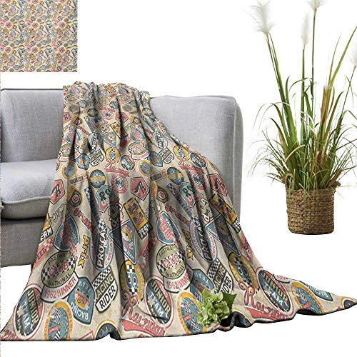 """AndyTours Blanket,Grunge,Racing Teams with Colorful Logos Excitement Grand Prix Driving and Riding Themes,Multicolor,Flannel Super Soft Warm Thick Blanket for Home 50""""x60"""""""