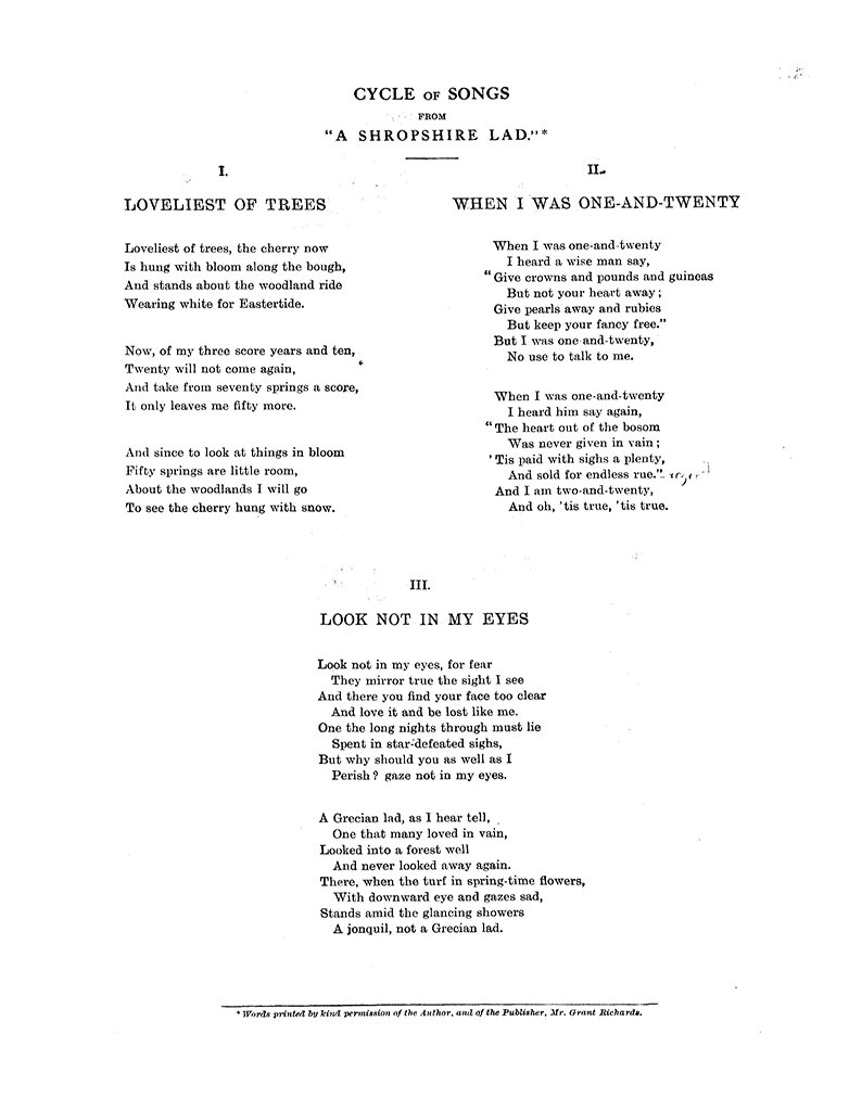 Six Songs from A Shropshire Lad - Score: George Butterworth