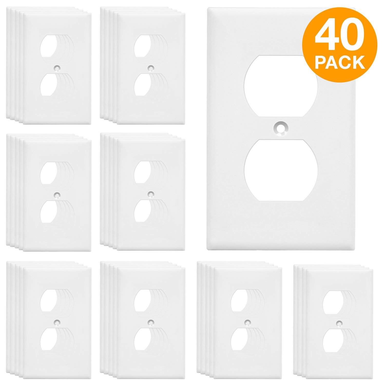 ENERLITES Duplex Receptacle Outlet Wall Plate, Size 1-Gang 4.50'' x 2.76'', Polycarbonate Thermoplastic, 8821-W-40PCS, White (40 Pack)
