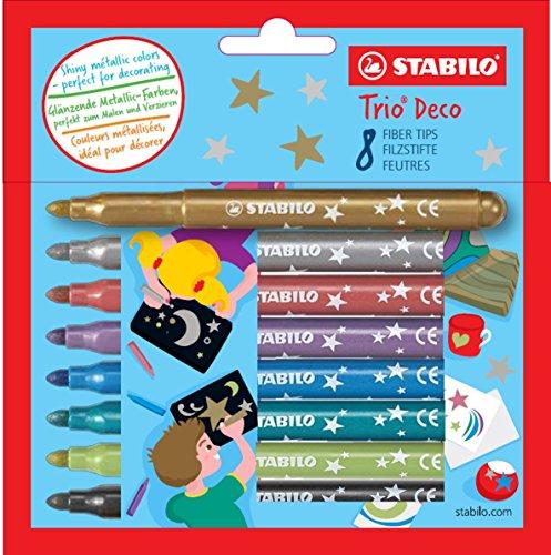 STABILO Trio Déco - Étui carton de 8 feutres - Couleurs metallisées