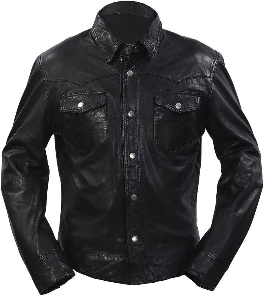 Infinity Retro Denim Estilo Ajuste Delgado Ocasional de la Camisa de Negro del Cuero de los Pantalones Vaqueros de la Chaqueta de los Hombres