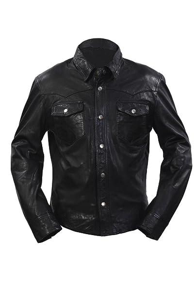 giacca pelle nera camicia