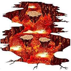 TOOGOO(R) Volcano Spout Magma Lava Rock Wall Decal Floor Sticker Home Decor for Bedroom Nursery Living Room Stairs 24x35 inches