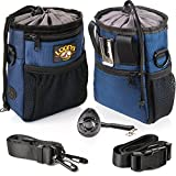 Dog Treat Pouch with Belt-Clip, Training Treat Bag for Carrying Kibbles, Toys and Accessories - 3 Ways To Wear, Easy To Clean, Waste Bag Dispenser - Comes with Dog Training Clicker, Poop Bag & eBook