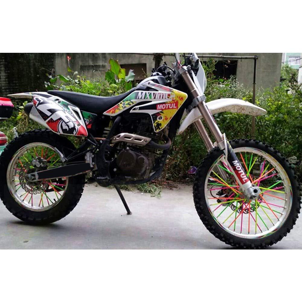 Amarillo Fydun 36pcs Protector de radios de rueda Llantas de motocross Cubiertas Cubiertas de la motocicleta de carretera Kit de envolturas