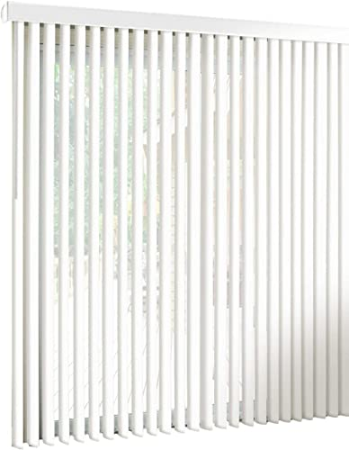 spotblinds White-Cordless-Custom-Made, Premium PVC Vertical Blinds-Blocks Sunlight-Assembled in The US-Exact Width Length from 67 Wide to 81 Long. Receive a 70 W x 79 L Vertical Blind.