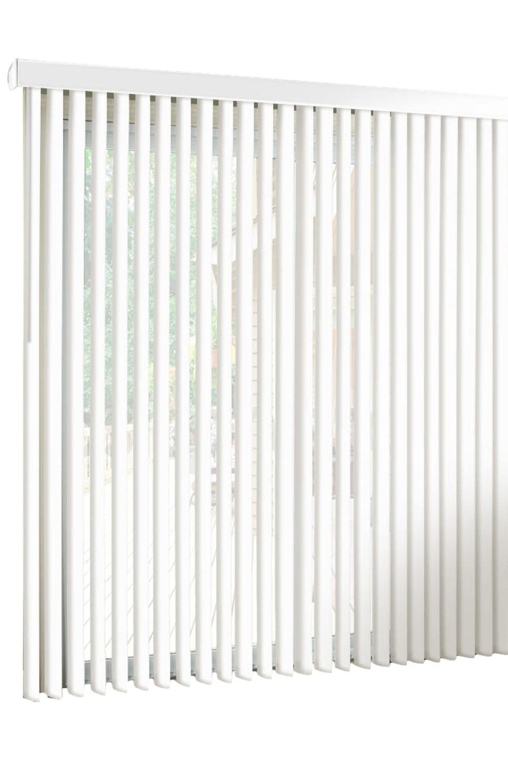 spotblinds White-Cordless-Custom-Made, Premium PVC Vertical Blinds-Blocks Sunlight-Assembled in The US-Exact Width & Length from 67'' Wide to 94'' Long. This Listing is (67'' W x 83'' L) Vertical Blind. by spotblinds