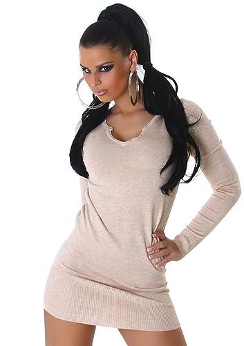Jela London -  Vestito  - Astuccio - Basic - Maniche lunghe  - Donna Beige Taglia unica