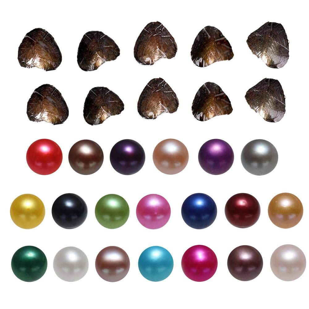 New Oysters with Pearls Inside, 20PC Freshwater Cultured Love Wish Mixed Color Round Pearl Oyster (7-8mm)
