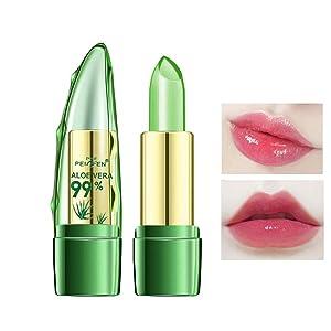 Aloe Vera Lipstick, Clear Jelly Lipsticks, Long Lasting Nutritious Lip Balm, Lips Moisturizer Magic Temperature Color Change Lip Gloss (1 Pack)