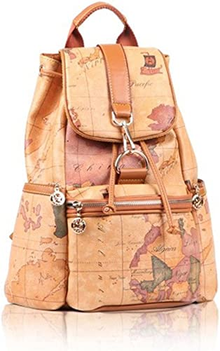 Faux Leather Vintage Novelty World Map Backpack Travel Lacing Bag Hot 03