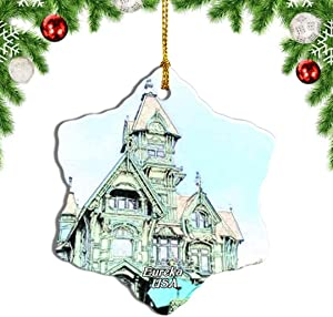 Weekino USA America Eureka Carson Mansion California Christmas Ornament Travel Souvenir Tree Hanging Pendant
