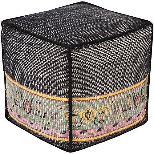 Surya ZHPF-003 100-Percent Wool Pouf, 18-Inch by 18-Inch by 18-Inch, Charcoal/Sea Foam/Sunflower/Carnation/Rust (Storage Sunflower Stool)
