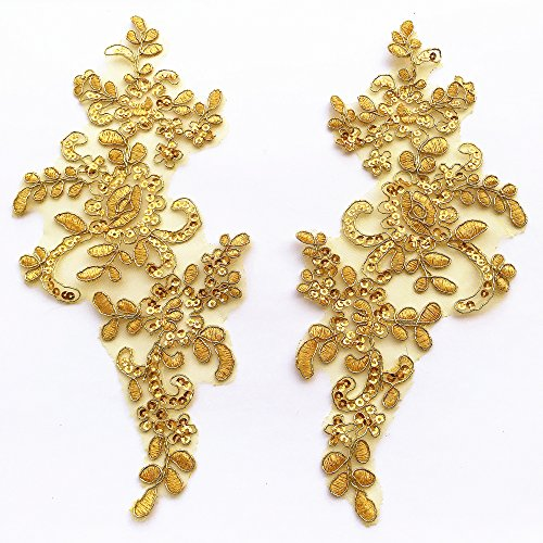 - 1 Pair Fine Lace Fabric Patches Embroidered Trim Applique Decor Dress Decoration (Yellow)