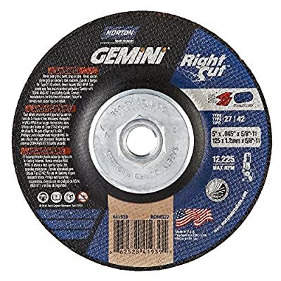 """Norton Gemini Right Cut Right Angle Grinder Reinforced Abrasive Flat Cut-off Wheel, Type 27, Aluminum Oxide, 5/8""""-11 Hub, 5"""" Diameter x 0.045"""" Thickness (Pack of 10)"""