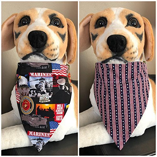 Reversible Slide On Pet Bandana Military Armed Forces Marine Corps American Flag Dogs Cats Scarf Over The Collar