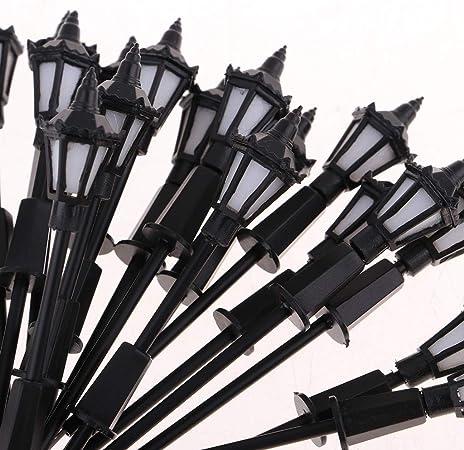FLAMEER 10 Pedazos Escala 1//150 Mini Modelo Farola Poste de Luces LED L/ámpara para Modelismo Escena de Mesa de Arena Dual Cabeza con luz Blanca