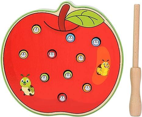 Juego de escritorio, juego de juguete de escritorio de captura de forma de fruta bebé con un palo magnético Educativos para niños Gusanos de pesca Juegos de trampas (Apple): Amazon.es: Bebé