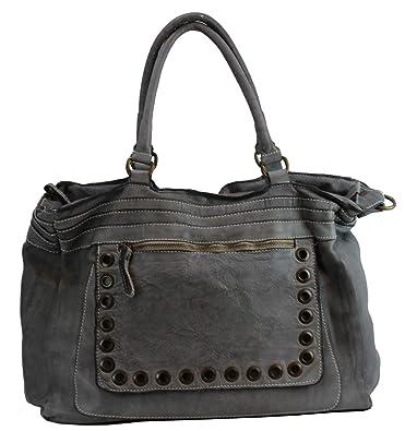 c5c123cecde60 BZNA Bag Luisa Gray grey Italy Designer Damen Handtasche Ledertasche  Schultertasche Tasche Leder Shopper Neu