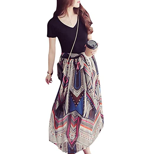 Fedi Apparel Womens Casual Boho Tank Top Chiffon Long Maxi Dresses Beach Sundress