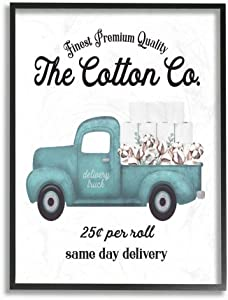Stupell Industries Toilet Paper Cotton Co Delivery Truck Bathroom Word, Design by Artist Lettered and Lined Wall Art, 11 x 14, Black Framed