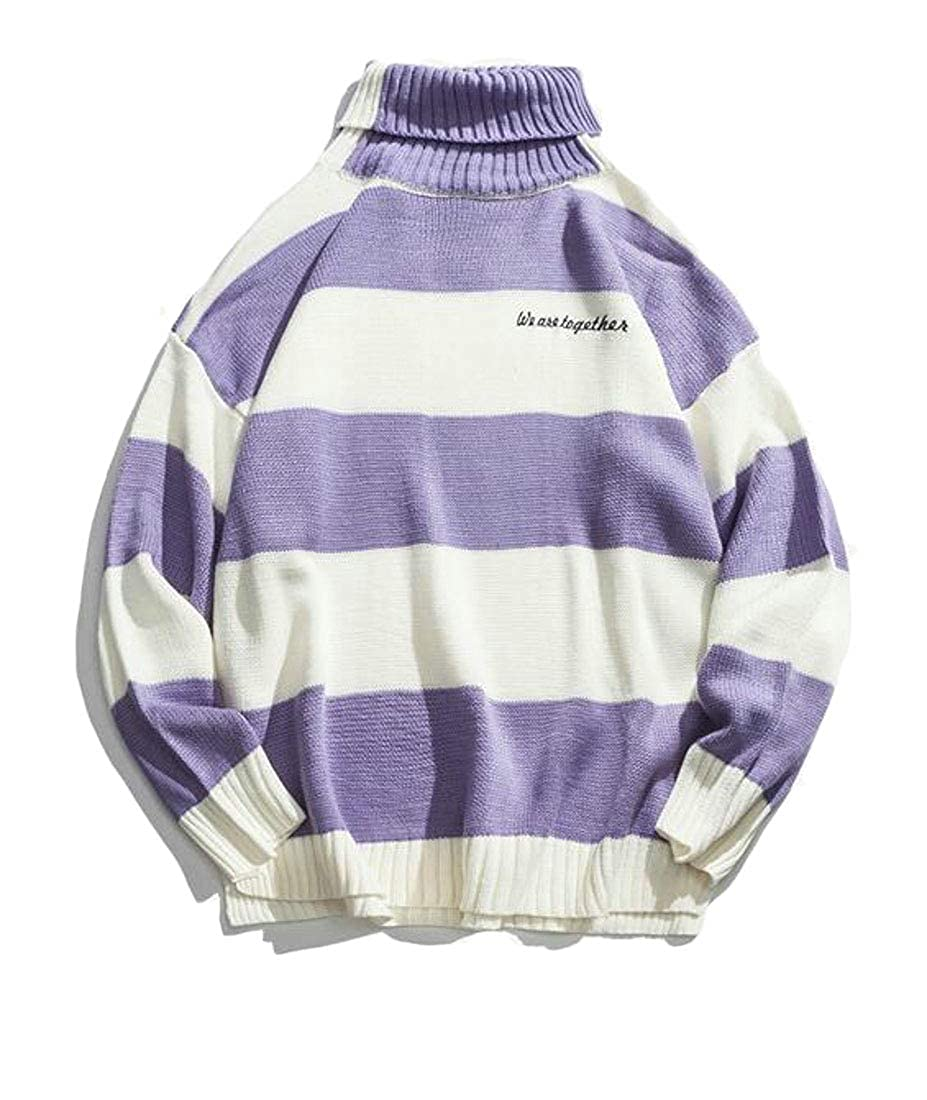 Hajotrawa Men Stylish High Neck Color Block Knitted Split Pullover Sweaters