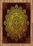 Mandala Area Rug by Ambesonne, Ornamental Snowflake Floral Ethnic Traditional Arabian Oriental Graphic Artwork, Flat Woven Accent Rug for Living Room Bedroom Dining Room, 5.2 x 7.5 FT, Yellow Brown