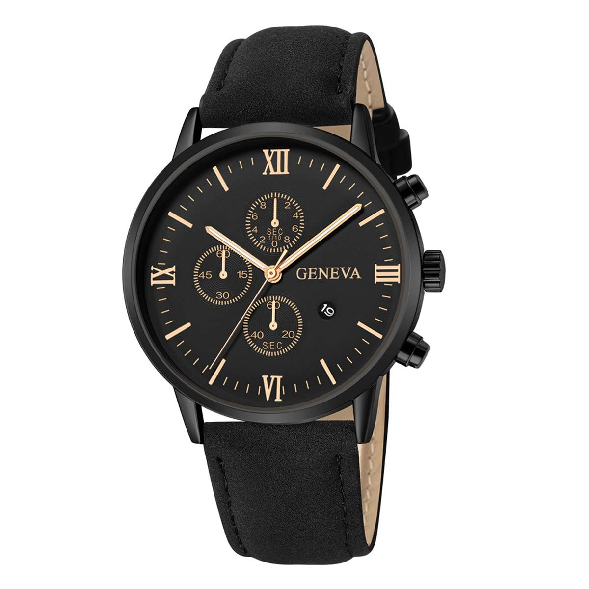 ZODRQ Men's Watch,Fashion Life Waterproof Sport Watches Leather Band Wrist Watch Wristwatch Date Quartz Watch for Men Gift (K) by ZODRQ