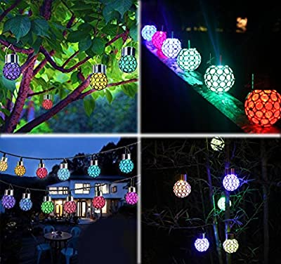 Ezoe's Solar Hanging Ball Lights - 3 Pcs Solar Powered Outdoor Lamp Color Changing Crystal Ball Lights Decorative LED Light Lantern Hanger on Top Landscape Lighting for Garden Patio Yard Window