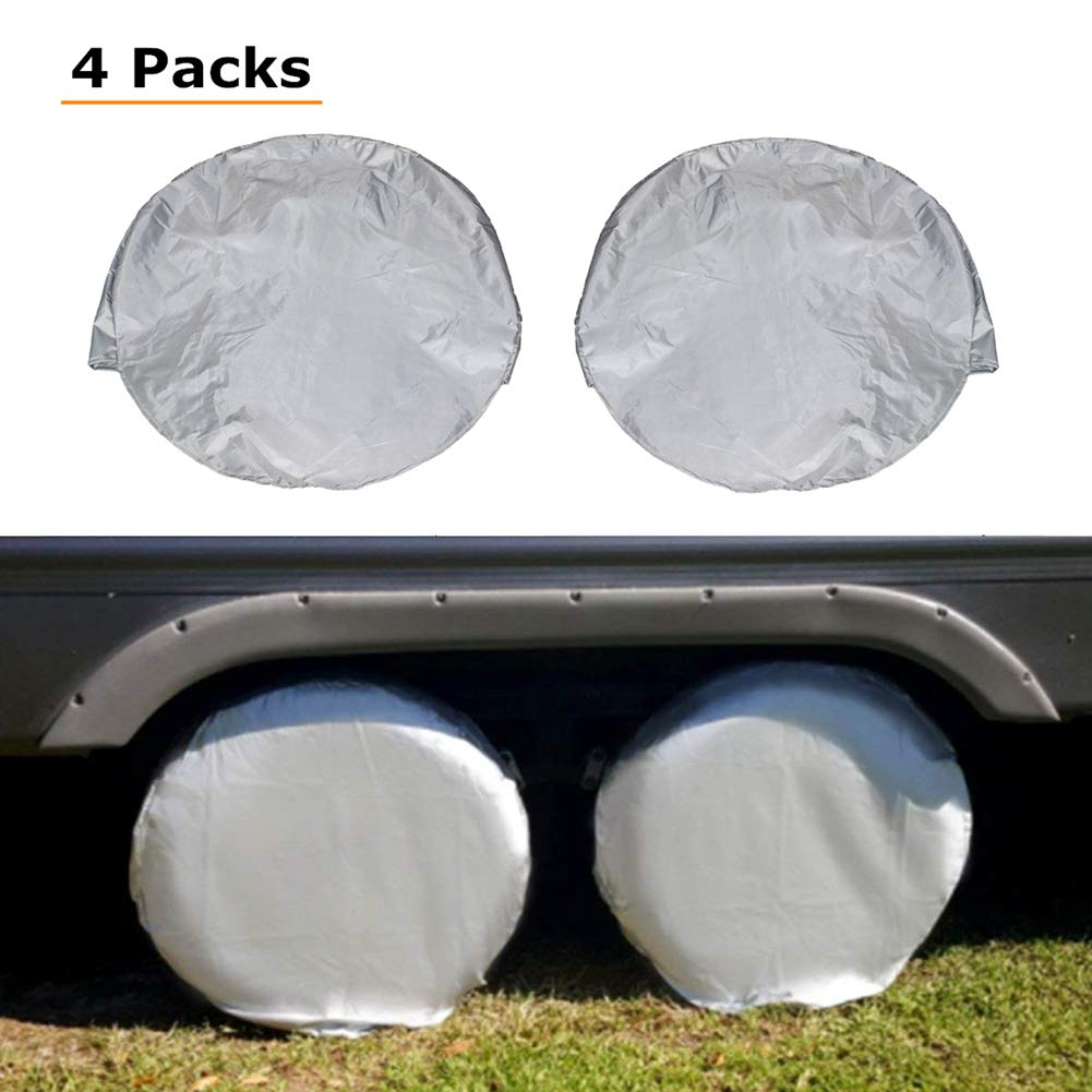 HONCENMAX Set of 4 Car Tire Covers - Waterproof Dustproof Tire Sun Protectors - for RV Jeep SUV Auto Truck Camper Trailer - Fits 30' to 32' Tire Diameters Gray
