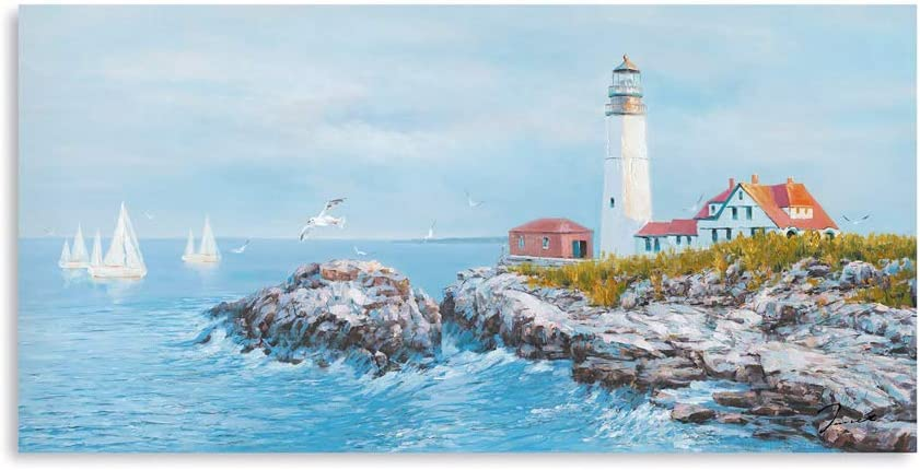 Lighthouse Wall Art Coastal Decor-Porland Head Lighthouse Bathroom Decor-Large Blue Ocean Painting Seascape Canvas Art Print-Sailing Boats and Seagull Picture Decorations for Home 20