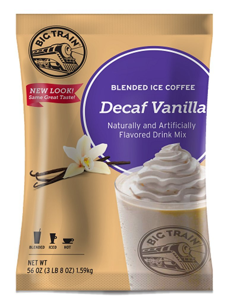 Big Train Blended Ice Coffee, Decaf Vanilla Latte, 3.5 Pound, Powdered Instant Coffee Drink Mix, Serve Hot or Cold, Makes Blended Frappe Drinks