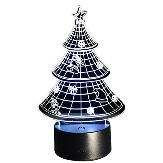 creative 3d christmas tree night light usb touch switch decor table desk optical illusion lamps 7