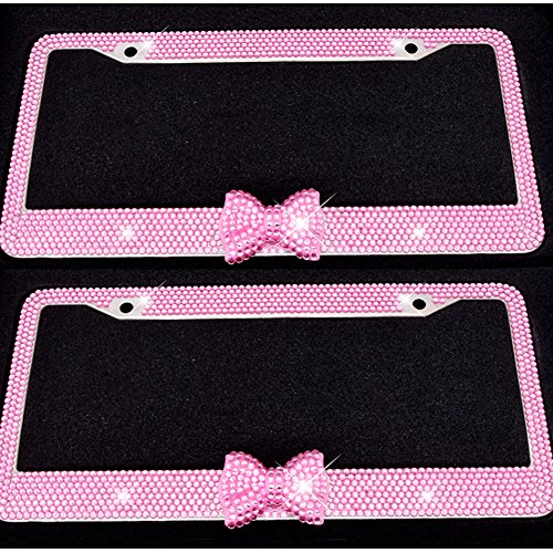 Bling Bling License Plate Frames -8 Row Pure Handmade Waterproof Glitter Rhinestones Crystal License Frames plate for Cars with 2 Holes & Screws Caps Set (2 Pack Pink Bowtie) (Plate Bow License)